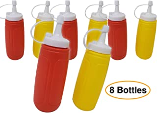 Ketchup & Mustard Dispensers   Condiment Squeeze Set, 4 -pack (8 bottles) – 12 oz With Lid/Cap 7.25