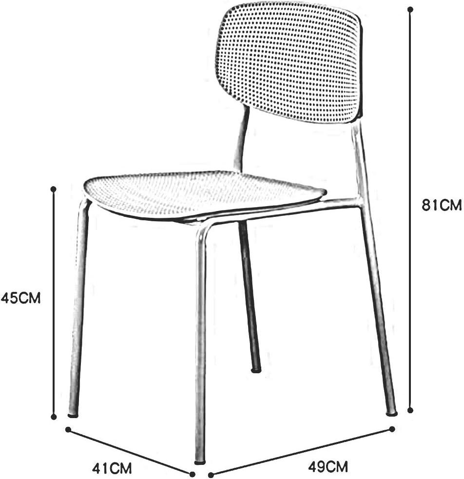 DALL Chaise De Salle À Manger Lot De 2 Chaise De Table en Plastique Loisirs Nordiques Empilable Chaise De Dossier Armature en Métal Chaise De Café 41X49X81cm (Color : Gray) Green
