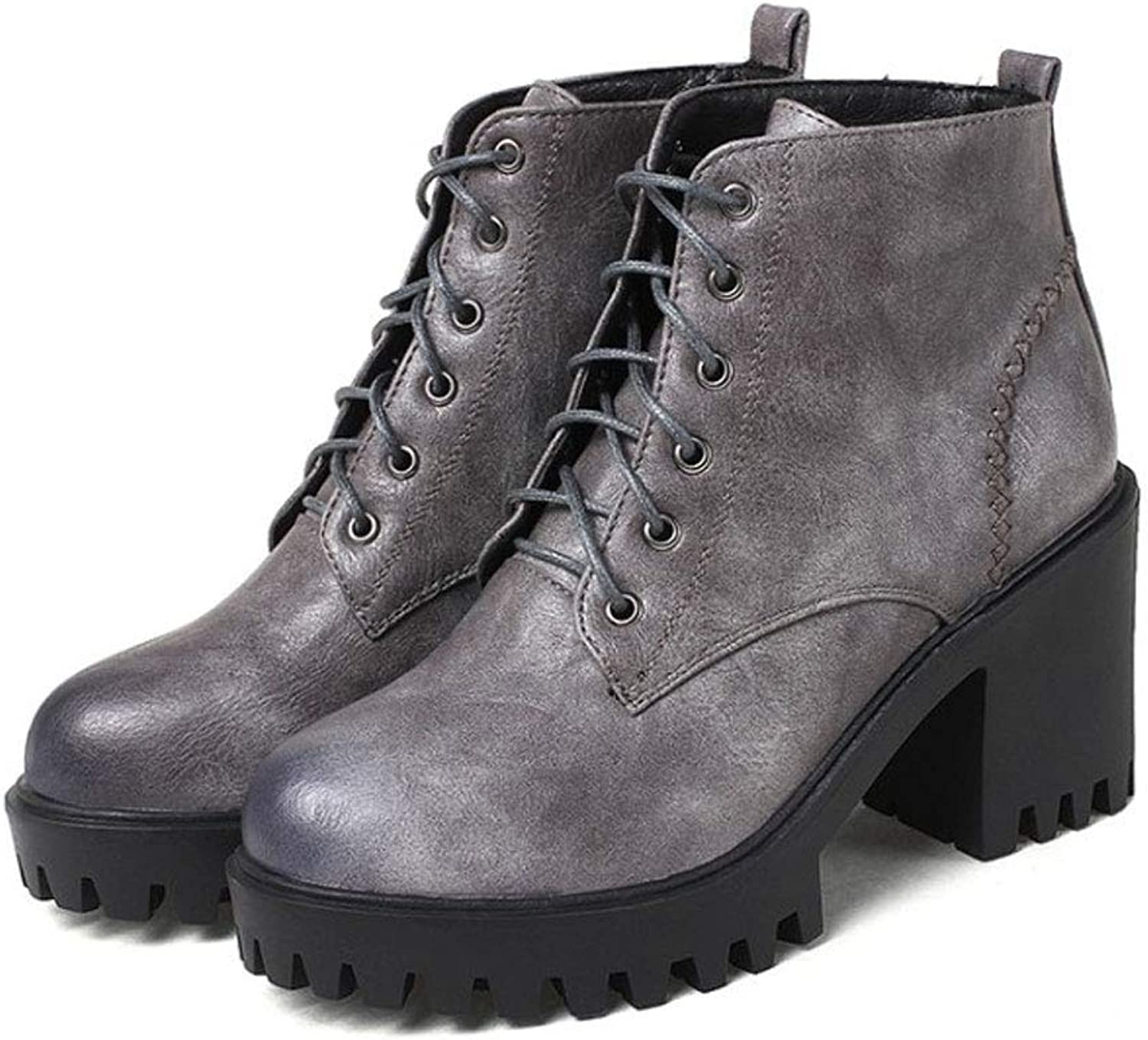 Lace-Up Short Boots, High Heels Ankle Boots Thick with Round Head Low Boots Waterproof Platform Non-Slip Martin Boots Women's Comfortable shoes