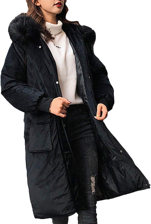Destjoy Coats Women Parkas Pocket Black Button Long Warm Hooded Coat Women Jacket Outwear Casaco Feminino
