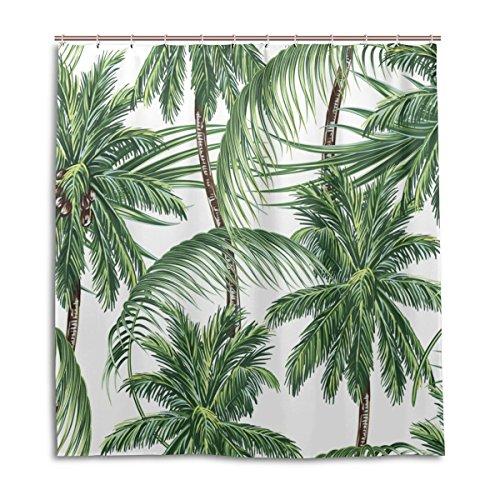 jstel Decor Duschvorhang Palmen Tropische Blätter Muster Print 100prozent Polyester Stoff 167,6x 182,9cm für Home Badezimmer Deko Dusche Bad Gardinen mit Kunststoff Haken