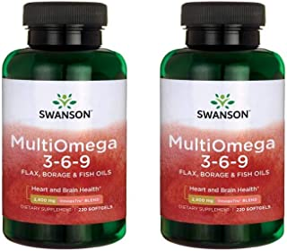 Swanson Multiomega 3-6-9 Flax, Borage & Fish Oils 220 Sgels 2 Pack