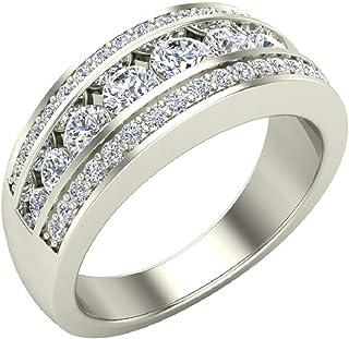 1.00 ct tw Three Rows Graduating Diamond Wedding Band Ring 18K Gold (G,VS)