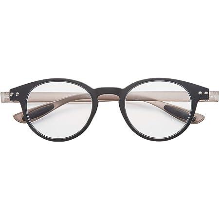 老眼鏡 ブルーライトカット 携帯 軽量 おしゃれ ボストン colorfulook ブラック*グレー 度数+0.50 (カラフルック 軽量 形状記憶 フレーム) 5351-05