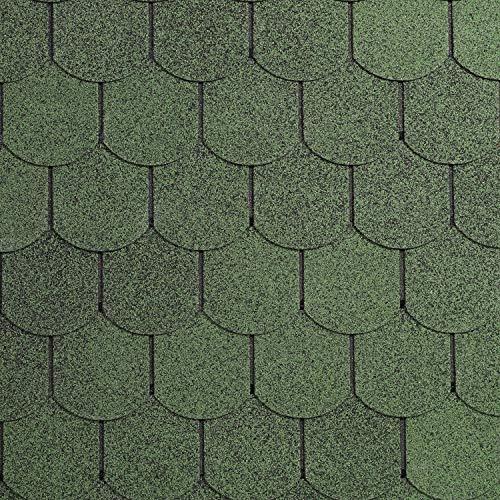 Dachschindeln Biberschwanz 3 m² mit Glasvlieseinlage Bitumenschindeln Schindeln Biberschwanzschindeln (Grün)