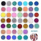 Jurxy 45 cajas de purpurina holográfica para uñas, set de polvo de purpurina gruesa con purpurina para decoración de uñas, maquillaje para rostro, cabello, cuerpo y uñas