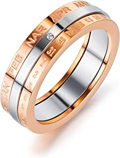 FILOBOKO Stainless Steel Ring Women Rotatable Calendar Date Cubic Zirconia Rose Gold Band Style Finger Ring Meaningful Gif...