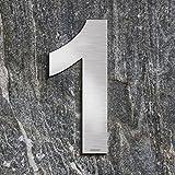 qobobo® Número Casa 1 Uno Signo Vivienda Calle de 304 Acero Inoxidable Cepillado , 200mm