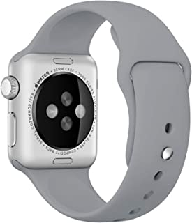 Apple Watch Kordon 1 2 3 4 5 Seri 42mm-44mm Silikon Kayış Gri