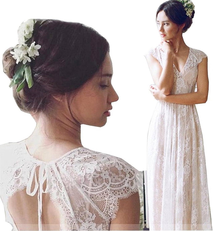 Adonis Pigou Women's Vintage V Neck Lace Beach Wedding Dresses Maxi Bridal Gowns