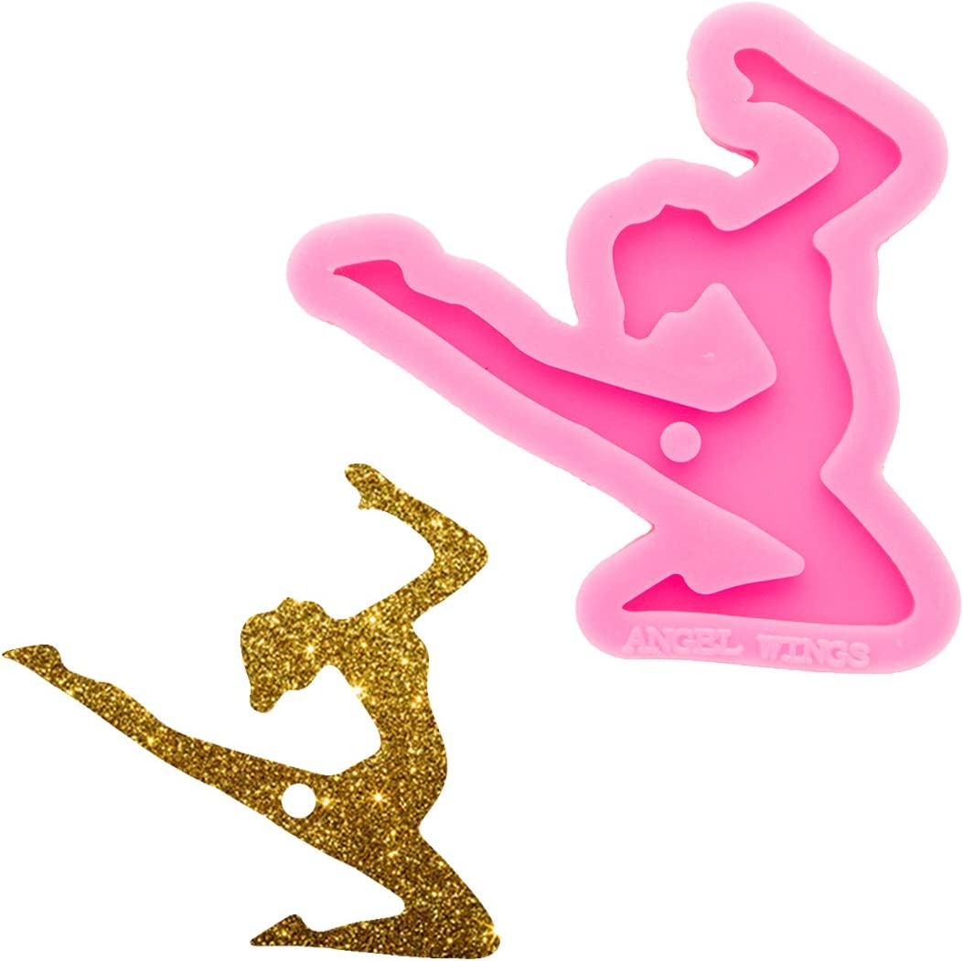 Shiny Glossy Dancing Girl Selling rankings Shape Mold Keychain with Hole Ranking TOP16 Silicone