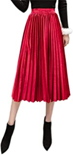 Best red velvet pleated skirt Reviews