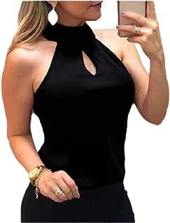 SportsX Women Chiffon Summer Solid Color Sleeveless Sexy Halter Tank Top Vest Blouse