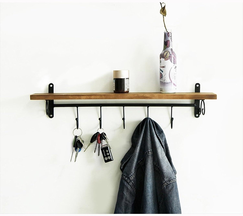 ZfgG Coat Rack Shelf, Coat Rack Wall-Mounted Wooden Hook Rack with 5 Metal Hooks and Upper Shelf for Storage Scandinavian Style for Hallway Bathroom Living Room Bedroom, Bamboo,Beige Brown color