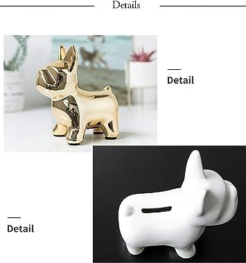 DELICLI Fashion Bulldog Statue Home Decor Creative Gift Modern Minimalist Decorative Ornaments Coin Piggy Bank Ornaments (Gol