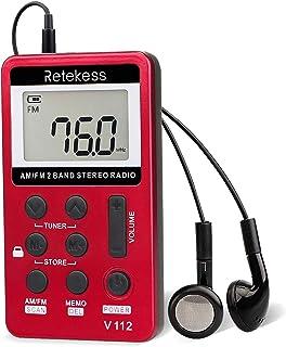 Retekess V112 AM FM Portable Pocket Radio Digital Tuning Stereo Volume with Earphone Rechargeable Battery for Walking Gym...