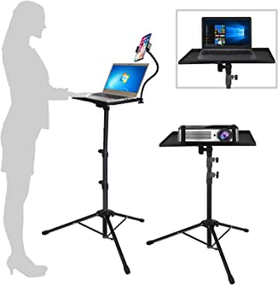 Projector Laptop Tripod Stand - Computer, Tablet, DJ Equipment Holder Mount with Gooseneck Phone Holder Height Adjustable ...