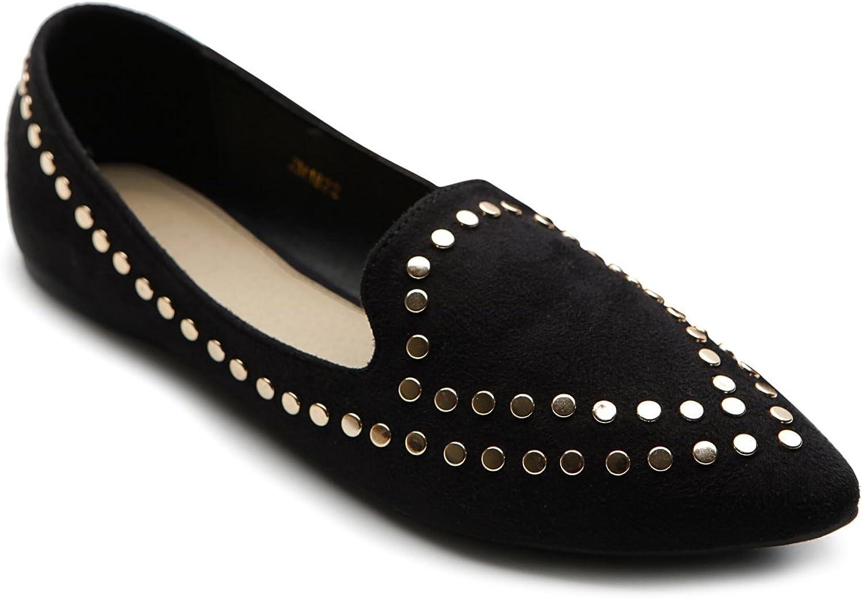 Ollio Women's Ballet shoes Comfort Faux-Suede Studded Flat