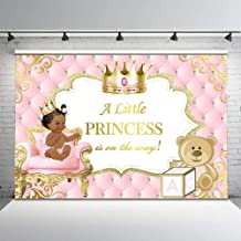 Mocsicka Pink and Gold Baby Shower Backdrop Ethnic Princess Tufted Photo Background 7x5ft Gold Crown Cute Bear Glitter Vinyl Photography Backdrops Baby Shower Decorations Supplies