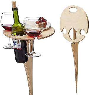 Mesa de vino portátil al aire libre, mesa redonda plegable de vino, mesa de picnic de madera, mesa de playa, mesa de picni...