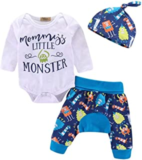 Baby Clothes Mommy's Little Monster Print Bodysuit Cotton Long Sleeve Romper Pants + Hat Outfits Set 3Pcs