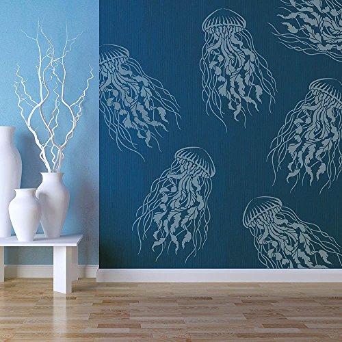Large Jellyfish Wall Stencil - Large Stencils for Painting Walls – Try Stencils instead of Wallpaper – Modern Stencils for Wall Painting – Stencil Designs for DIY Home Décor – Best Stencils - (MEDIUM)