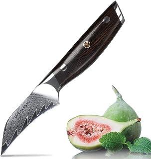 TURWHO Tourniermesser Damast 9 cm, Spezialklingenstahl, Profi Messer Scharf Damastmesser aus 67 Lagen, extrem Scharfes japanischen Küchenmesser zum geschmiedet