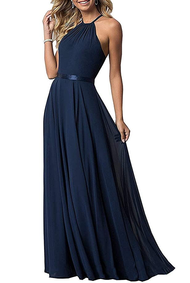 Bridesmaid Dresses for Women Chiffon Halter A Line Prom Evening Dresses Long