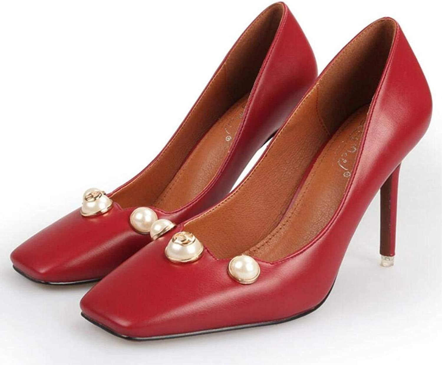 Lady shoes Heeled Square Head Women's shoes Shallow Mouth Leather Casual Pearl shoes Black Red Brown Beige for Women