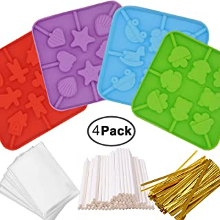 IHUIXINHE Silicone Lollipop Molds,4Pack 8-Capacity Chocolate Hard Candy Mold with 80pcs 4 inch Lollipop Sucker Sticks,50pcs Candy Treat Bags,100pcs Gold Ties