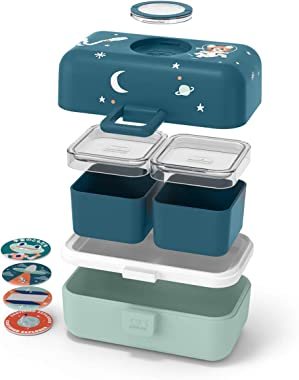 monbento - MB Tresor graphic blue Cosmic - Space and Tiger lunch box for Kids - 3 compartment for school lunch and snack pack