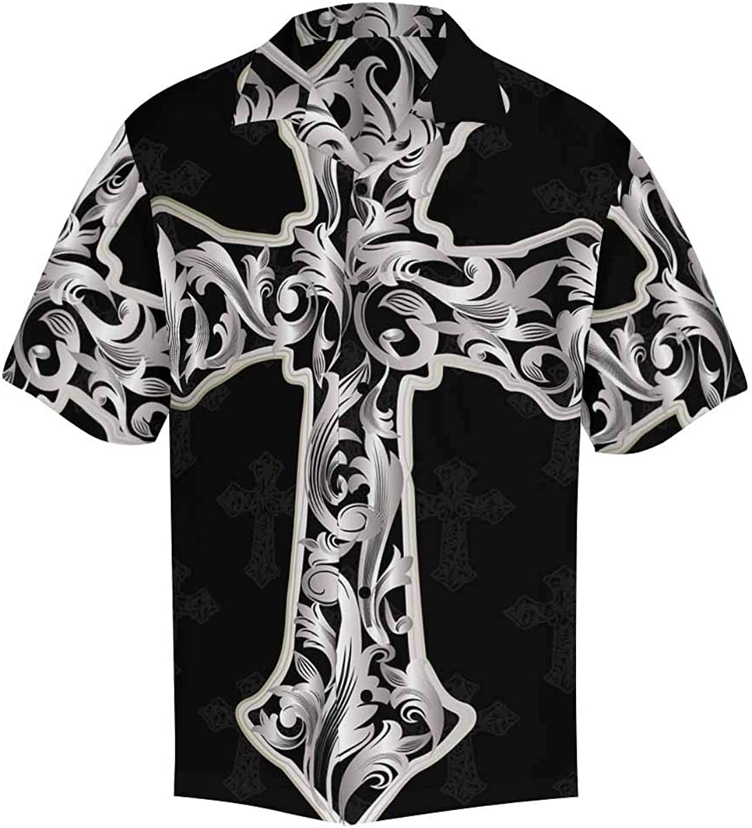 InterestPrint Men's Casual Button Down Short Sleeve Vintage Dandelion Hawaiian Shirt (S-5XL)