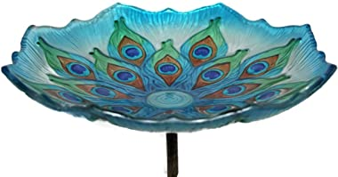 """Evergreen Garden Stunning and Intricate Peacock Feather Inspired Glass Bird Bath Bowl with Metal Stake - 11"""" Long x 11"""" Wide"""