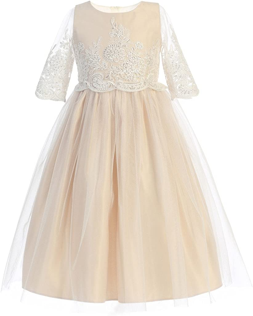 Sweet Kids Sequin & Cord Embroidered Flower Girl Dress (2-12Y)