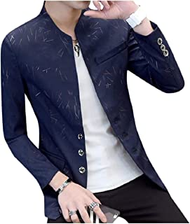 SportsX Mens Single Breasted Autumn Floral Casual Stand Up Collar Sport Coat