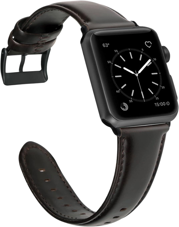 GOOYIN Correa para Apple Watch Series 5 Serie 4 3 2 1 Mujer Hombre Alto Grado Cuero Reemplazo Banda Moda Retro Noble Robusto Pulsera de Piel Repuesto Correa de Reloj para iWatch 44mm 42mm 40mm 38mm