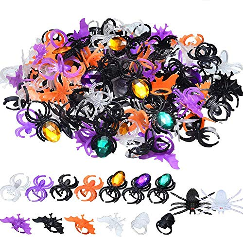 Halloween Spider Ring Skull Bat Ring Spider Party Favors Fake Plastic Spider Ring for Halloween Decoration 125PCS