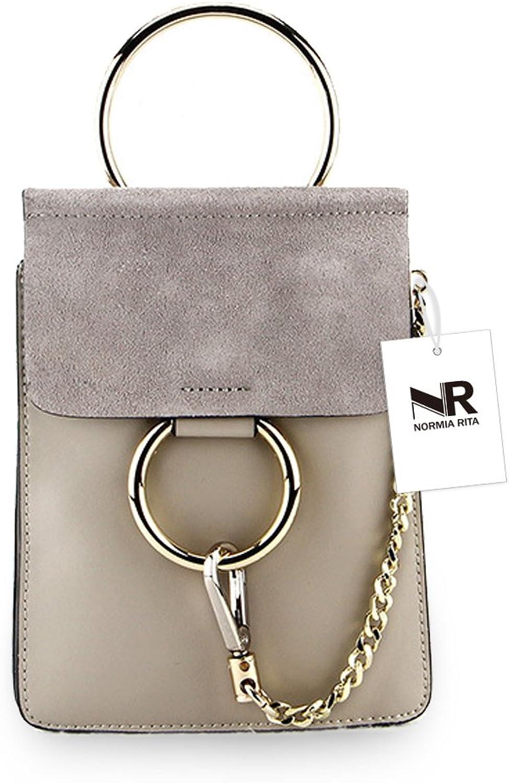Normia Rita Mini Ring Handbags Girls Cowhide Leather Purse Small Phone Bags Top Handle Wallet