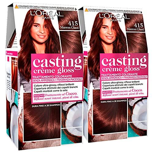 2x L Oréal Paris Casting Crème Gloss Colorazione Capelli Tinta Permanente Colore 415 Marron Glacé Senza Ammoniaca con Trattamento al Cocco - 2 Tinte