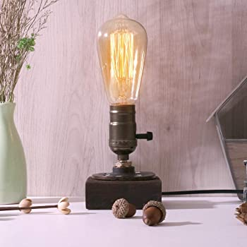 Industrial Desk Lamp, Steam Punk Piping Table Top Lamp, Small Edison Iron Retro Lamps with Wood Base for Bedside, Coffee Table, Bar