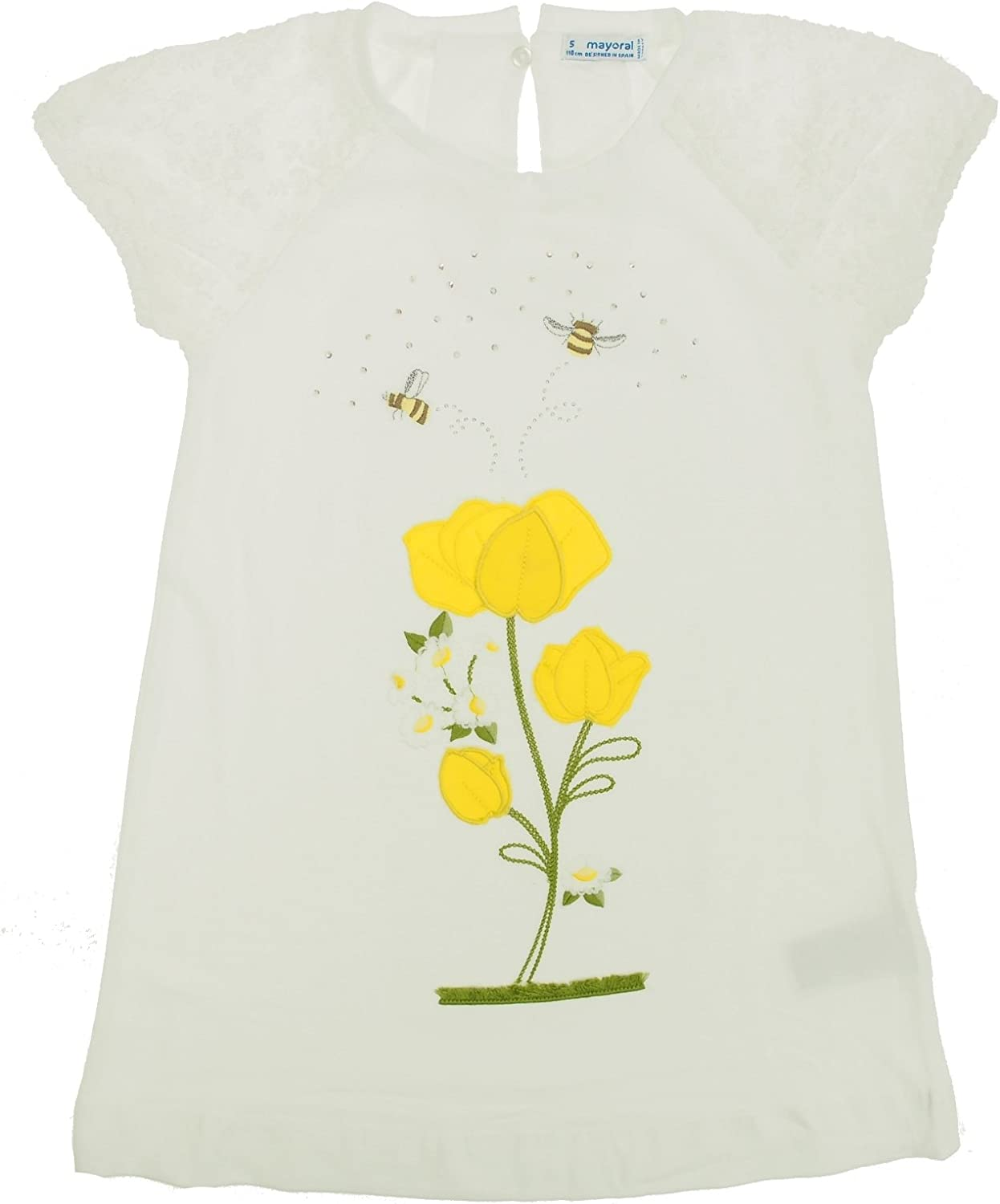 Mayoral - Flower Embroidered Dress for Girls - 3944, Yellow