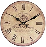 Perla PD Design, Orologio da parete, orologio da cucina, vintage design circa Ø 28 cm, Legno, Pontet Freres