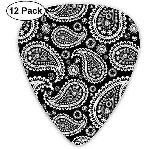 12 Pack Gitaar Picks, Zwarte Paisley Celluloid Gitaar Pick Set Voor Akoestische Elektrische Gitaar Bas Mandolin Ukulele 0.46mm 0.71mm 0.96mm