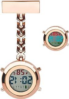 WIOR Clip On Nurse Watch, Hanging Digital Quartz Fob Watch Lapel Pin Pocket Watch with Backlight/Calendar/Alarm Clock/Stop...
