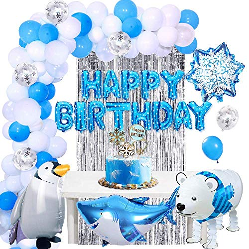 APERIL Palloncini Compleanno Blu e Bianchi Pallone Animale a Piedi Decorazioni Feste di Compleanno Animale Palloncini di Alluminio Tenda a Frange Buon Compleanno Banner Cake Toppers