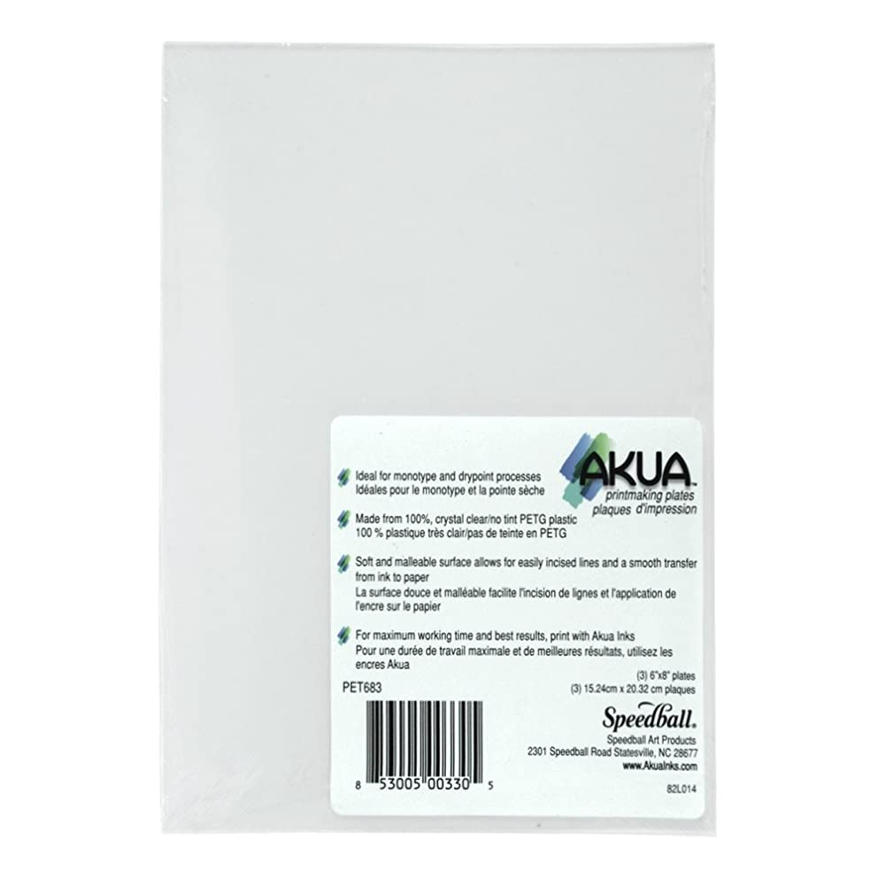 Speedball Akua Printmaking Plates, 6 x 8 Inches, Clear, Pack of 3