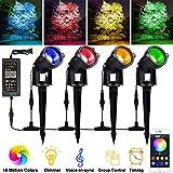 Nicetai Bluetooth RGB Gartenbeleuchtung Außenleuchte mit erdspieß via App mit Timer, Sync mit Musik, Dimmbare, 4 * 12W LED Gartenstrahler mit stecker Wasserdicht Gartenlampe Spotbeleuchtung