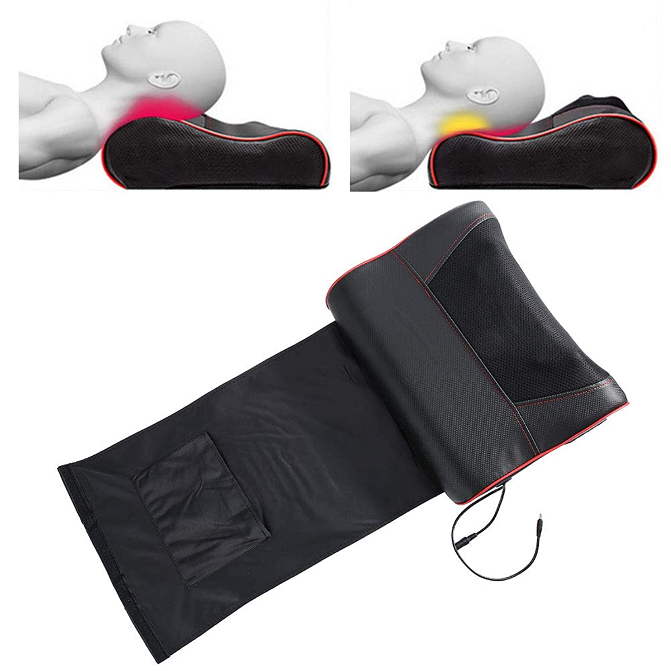 ヘリコプターようこそ舌な頸部マッサージ枕、多機能マッサージ枕、灸ホットコンプレックスネックウエストショルダーマッサージ用全身筋肉痛(US-Plug)