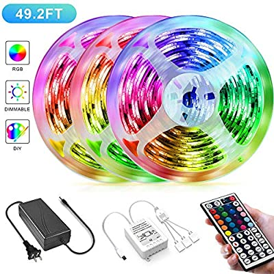 49.2FT/15M LED Strip Lights,Borllyem RGB LED Light Strip 5050SMD RGB LED Strip Color Changing Rope Lights IR Controller + 44Keys Remote LED Lights for Bedroom Home Party(3x16.4FT)
