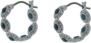 Swarovski Angelic Hoop Pierced Earrings, Blue, Rhodium Plating